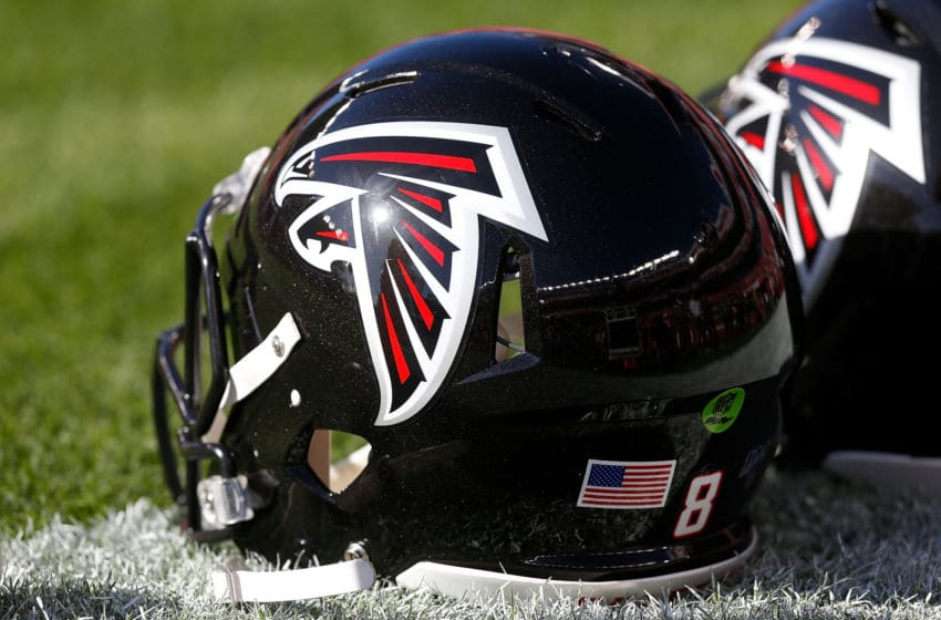 SANTA CLARA, CALIFORNIA - DECEMBER 15: The helmet of an Atlanta Falcons player sits on the field before the game against the San Francisco 49ers at Levi's Stadium on December 15, 2019 in Santa Clara, California. (Photo by Lachlan Cunningham/Getty Images)