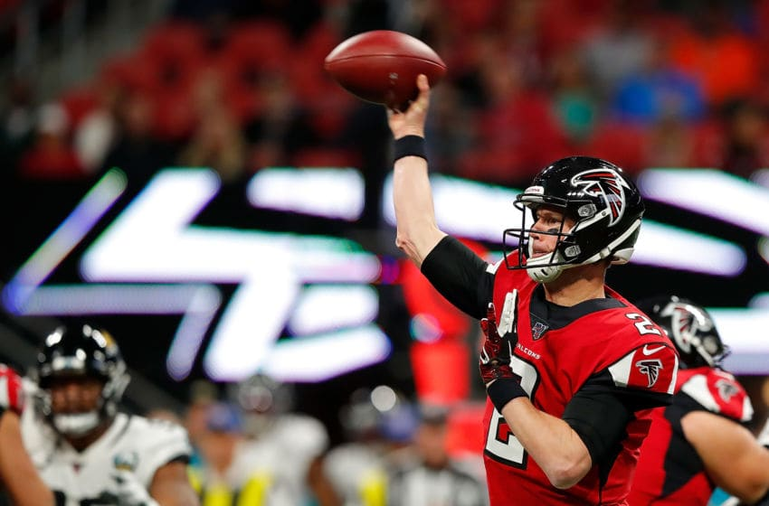 ATLANTA, GEORGIA - DECEMBER 22: Matt Ryan #2 of the Atlanta Falcons looks to pass against the Jacksonville Jaguars at Mercedes-Benz Stadium on December 22, 2019 in Atlanta, Georgia. (Photo by Kevin C. Cox/Getty Images)