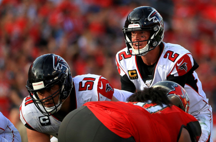 TAMPA, FLORIDA - DECEMBER 29: Matt Ryan #2 of the Atlanta Falcons calls a play during a game against the Tampa Bay Buccaneers at Raymond James Stadium on December 29, 2019 in Tampa, Florida. (Photo by Mike Ehrmann/Getty Images)