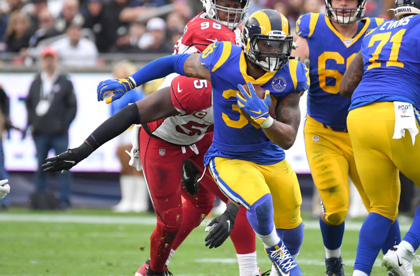 LOS ANGELES, CA - DECEMBER 29: Todd Gurley #30 of the Los Angeles Rams runs the ball in the game against the Arizona Cardinals at the Los Angeles Memorial Coliseum on December 29, 2019 in Los Angeles, California. (Photo by Jayne Kamin-Oncea/Getty Images)