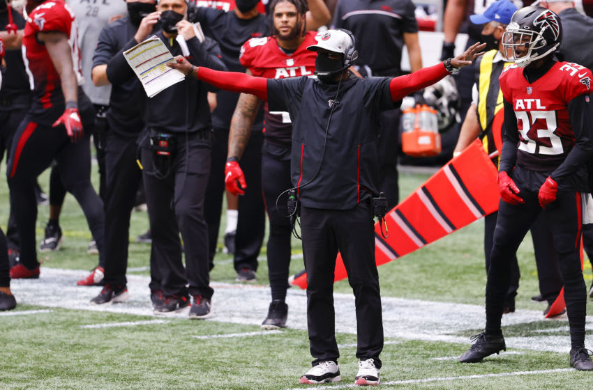 ATLANTA, GEORGIA - OCTOBER 25: Interim head coach Raheem Morris of the Atlanta Falcons reacts during the second half against the Detroit Lions at Mercedes-Benz Stadium on October 25, 2020 in Atlanta, Georgia. (Photo by Kevin C. Cox/Getty Images)