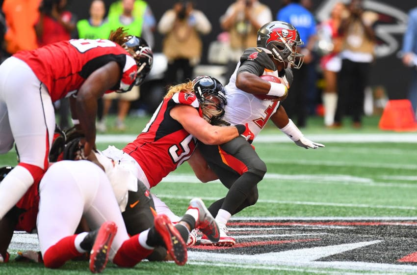 ATLANTA, GA - OCTOBER 14: Jameis Winston #3 of the Tampa Bay Buccaneers is tackled by Brooks Reed #50 of the Atlanta Falcons during the second quarter at Mercedes-Benz Stadium on October 14, 2018 in Atlanta, Georgia. (Photo by Scott Cunningham/Getty Images)
