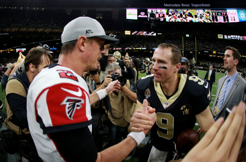 NEW ORLEANS, LOUISIANA - NOVEMBER 22: Matt Ryan #2 of the Atlanta Falcons and Drew Brees #9 of the New Orleans Saints shake hands at the end of a game at the Mercedes-Benz Superdome on November 22, 2018 in New Orleans, Louisiana. (Photo by Sean Gardner/Getty Images)