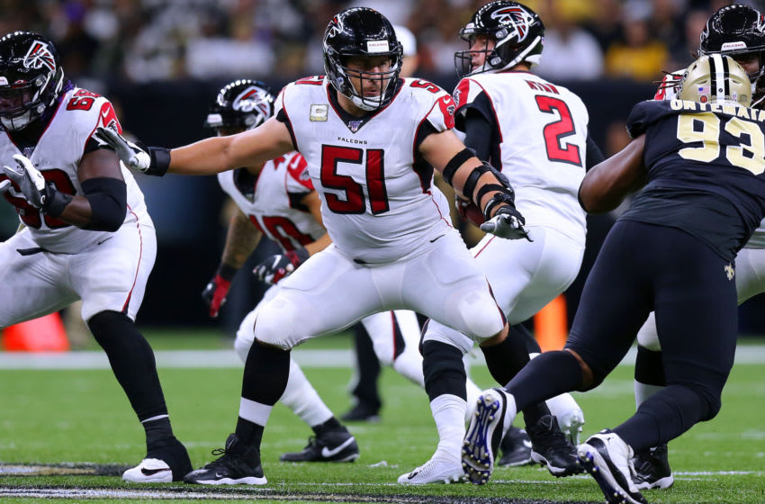 NEW ORLEANS, LOUISIANA - NOVEMBER 10: Alex Mack #51 of the Atlanta Falcons in action during a game against the New Orleans Saints at the Mercedes Benz Superdome on November 10, 2019 in New Orleans, Louisiana. (Photo by Jonathan Bachman/Getty Images)