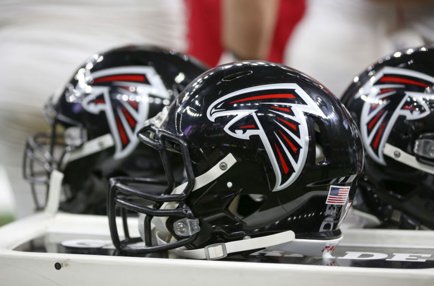 Nov 22, 2018; New Orleans, LA, USA; Atlanta Falcons helmets on the bench during their game against the New Orleans Saints in the first quarter at the Mercedes-Benz Superdome. Mandatory Credit: Chuck Cook-USA TODAY Sports