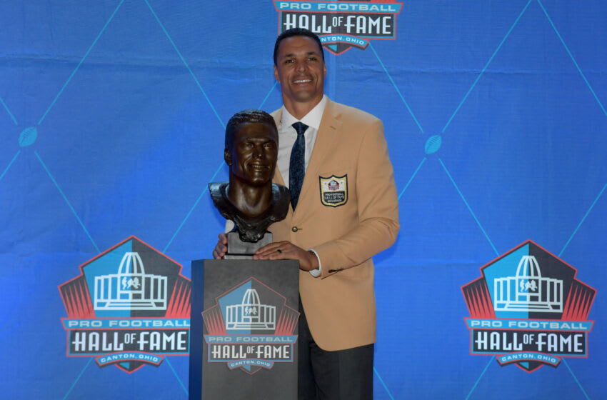 Aug 3, 2019; Canton, OH, USA; Tony Gonzalez poses with bust during the Pro Football Hall of Fame Enshrinement at Tom Benson Hall of Fame Stadium. Mandatory Credit: Kirby Lee-USA TODAY Sports