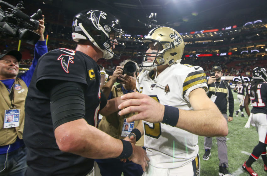 Nov 28, 2019; Atlanta, GA, USA; Atlanta Falcons quarterback Matt Ryan (2) talks to New Orleans Saints quarterback Drew Brees (9) after a game at Mercedes-Benz Stadium. Mandatory Credit: Brett Davis-USA TODAY Sports