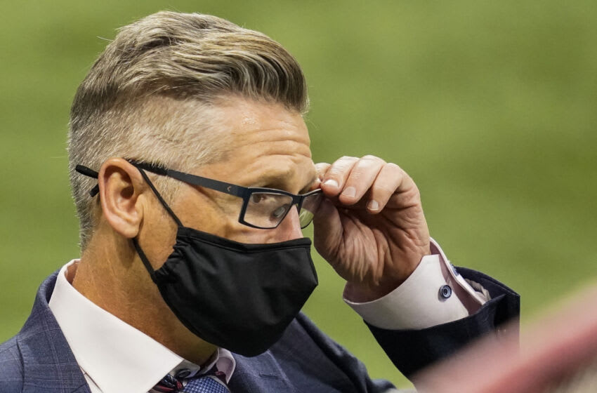 Oct 11, 2020; Atlanta, Georgia, USA; Atlanta Falcons general manager Thomas Dimitroff on the field during the game against the Carolina Panthers during the fourth quarter at Mercedes-Benz Stadium. Mandatory Credit: Dale Zanine-USA TODAY Sports