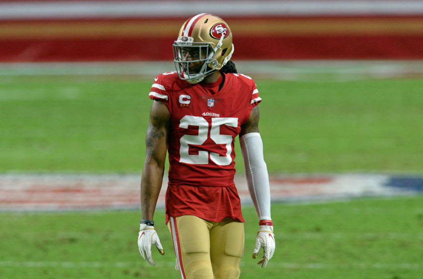 Dec 13, 2020; Glendale, Arizona, USA; San Francisco 49ers cornerback Richard Sherman (25) looks on against the Washington Football Team during the first half at State Farm Stadium. Mandatory Credit: Joe Camporeale-USA TODAY Sports