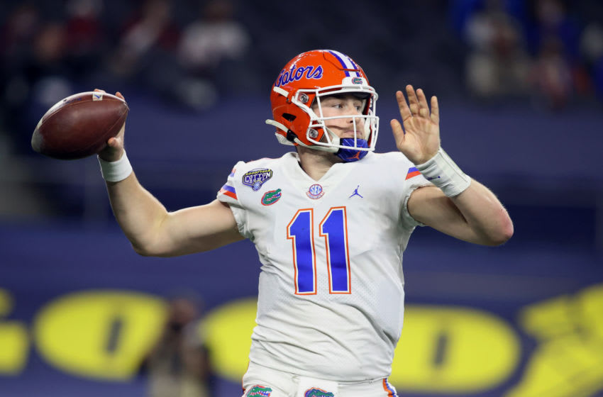Dec 30, 2020; Arlington, TX, USA; Florida Gators quarterback Kyle Trask (11) throws a pass against the Oklahoma Sooners in the second quarter at ATT Stadium. Mandatory Credit: Tim Heitman-USA TODAY Sports