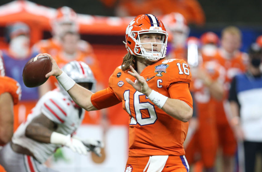 Jan 1, 2021; New Orleans, LA, USA; Clemson Tigers quarterback Trevor Lawrence (16) attempts a pass against the Ohio State Buckeyes during the second half at Mercedes-Benz Superdome. Mandatory Credit: Chuck Cook-USA TODAY Sports