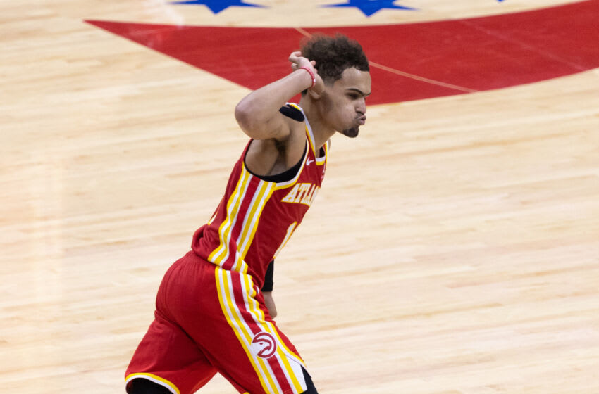 Jun 16, 2021; Philadelphia, Pennsylvania, USA; Atlanta Hawks guard Trae Young (11) reacts after scoring against the Philadelphia 76ers during the fourth quarter in game five of the second round of the 2021 NBA Playoffs at Wells Fargo Center. Mandatory Credit: Bill Streicher-USA TODAY Sports