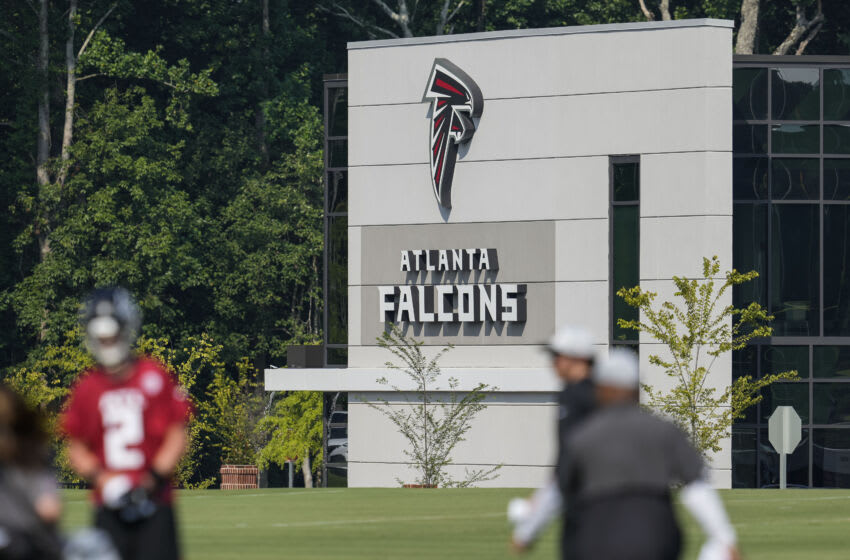 Jul 29, 2021; Flowery Branch, GA, USA; Atlanta Falcons signage shown during the first day of training camp at the Atlanta Falcons Training Facility. Mandatory Credit: Dale Zanine-USA TODAY Sports