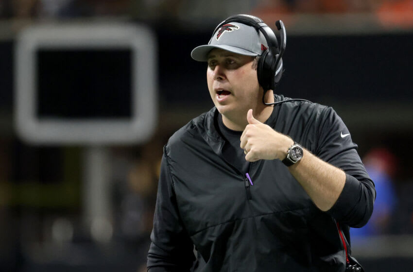 Aug 29, 2021; Atlanta Falcons head coach Arthur Smith talks with an official during the first quarter against the Cleveland Browns at Mercedes-Benz Stadium. Mandatory Credit: Jason Getz-USA TODAY Sports