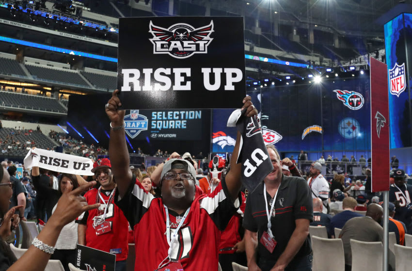 Apr 26, 2018; Arlington, TX, USA; Atlanta Falcons fans cheer prior to the first round of the 2018 NFL Draft at AT&T Stadium. Mandatory Credit: Matthew Emmons-USA TODAY Sports