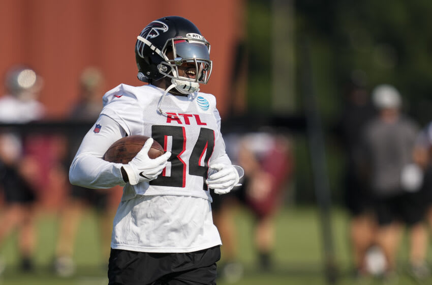 Jul 29, 2021; Flowery Branch, GA, USA; Atlanta Falcons wide receiver Cordarrelle Patterson (84) runs with the ball during the first day of training camp at the Atlanta Falcons Training Facility. Mandatory Credit: Dale Zanine-USA TODAY Sports