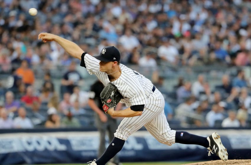 NEW YORK, NY - JULY 26: Sonny Gray #55 of the New York Yankees delivers a pitch in the third inning against the Kansas City Royals at Yankee Stadium on July 26, 2018 in the Bronx borough of New York City. (Photo by Elsa/Getty Images)
