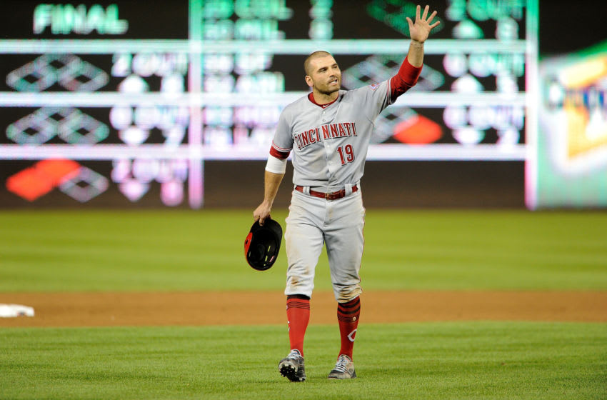 WASHINGTON, DC - AUGUST 04: Joey Votto #19 of the Cincinnati Reds yells towards the Washington Nationals dugout after being hit with a pitch in the eighth inning during game two of a doubleheader at Nationals Park on August 4, 2018 in Washington, DC. (Photo by Greg Fiume/Getty Images)