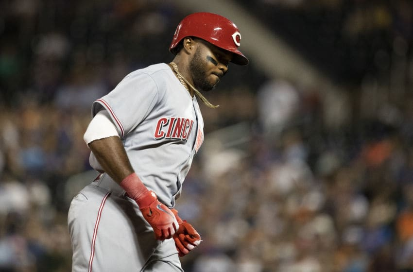 NEW YORK, NY - AUGUST 07: Phillip Ervin #27 of the Cincinnati Reds rounds third base after hitting a homerun in the third inning against the New York Mets at Citi Field on August 7, 2018 in the Flushing neighborhood of the Queens borough of New York City. (Photo by Michael Owens/Getty Images)
