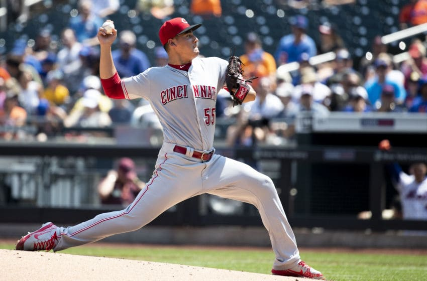 NEW YORK, NY - AUGUST 08: Robert Stephenson #55 of the Cincinnati Reds pitches during the first inning at Citi Field on August 8, 2018 in the Flushing neighborhood of the Queens borough of New York City. (Photo by Michael Owens/Getty Images)