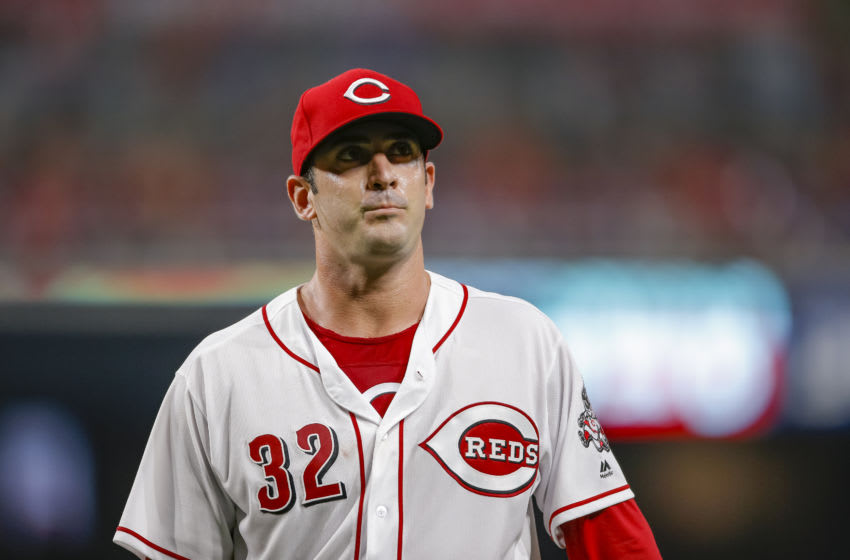 CINCINNATI, OH - AUGUST 11: Matt Harvey #32 of the Cincinnati Reds walks back to the dugout. (Photo by Michael Hickey/Getty Images)