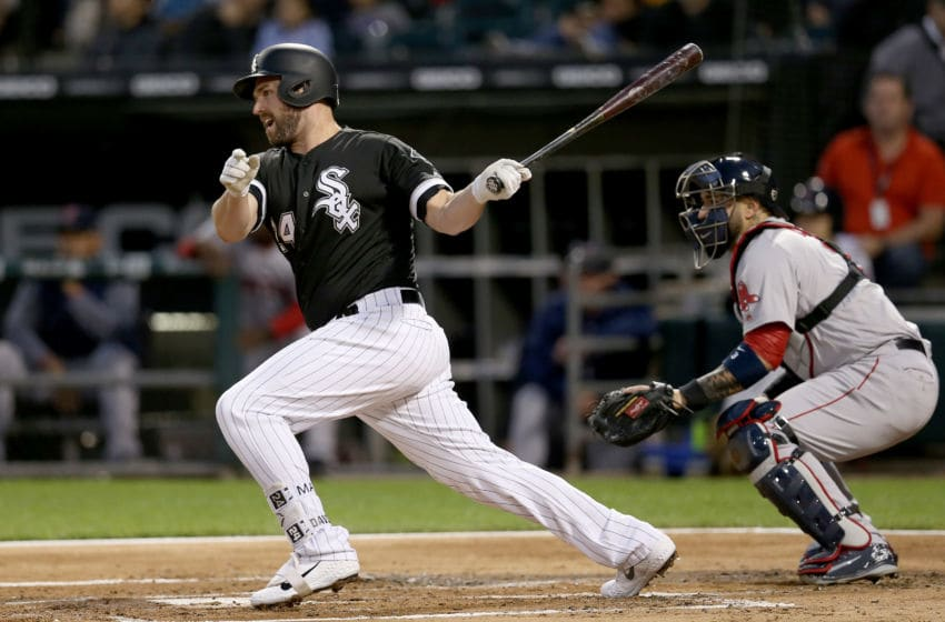 CHICAGO, IL - AUGUST 30: Matt Davidson #24 of the Chicago White Sox hits a single in the first inning against the Boston Red Sox at Guaranteed Rate Field on August 30, 2018 in Chicago, Illinois. (Photo by Dylan Buell/Getty Images)