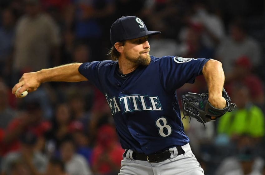 ANAHEIM, CA - SEPTEMBER 13: Mike Leake #8 of the Seattle Mariners pitches in the first inning of the game against the Los Angeles Angels of Anaheim at Angel Stadium on September 13, 2018 in Anaheim, California. (Photo by Jayne Kamin-Oncea/Getty Images)