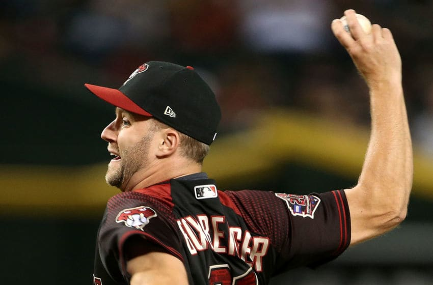 PHOENIX, AZ - SEPTEMBER 22: Brad Boxberger #31 of the Arizona Diamondbacks pitches against the Colorado Rockies during the ninth inning of an MLB game at Chase Field on September 22, 2018 in Phoenix, Arizona. (Photo by Ralph Freso/Getty Images)