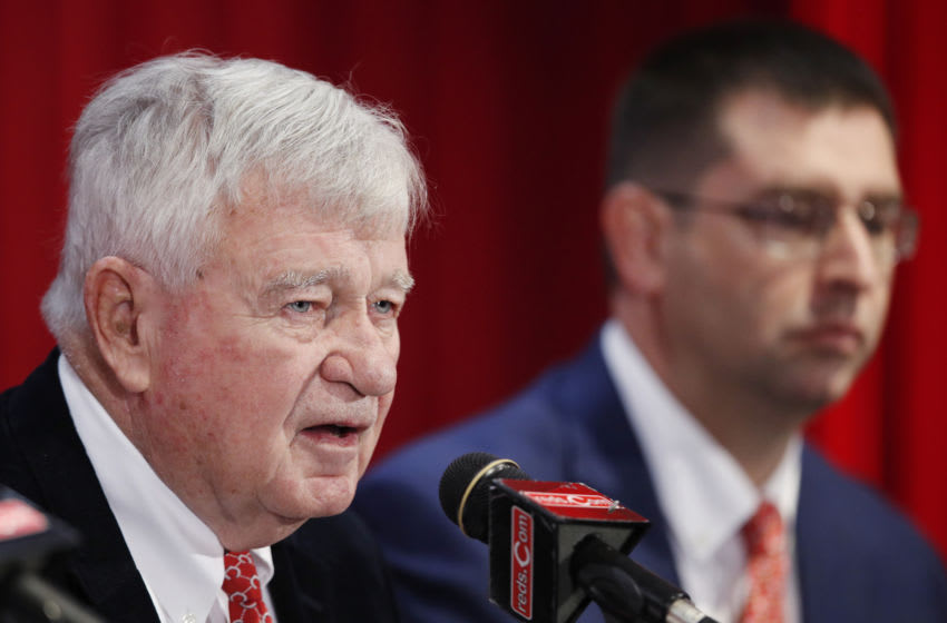 CINCINNATI, OH - OCTOBER 22: Owner and CEO Bob Castellini speaks as general manager Nick Krall looks on after David Bell was introduced as the new manager for the Cincinnati Reds at Great American Ball Park on October 22, 2018 in Cincinnati, Ohio. (Photo by Joe Robbins/Getty Images)