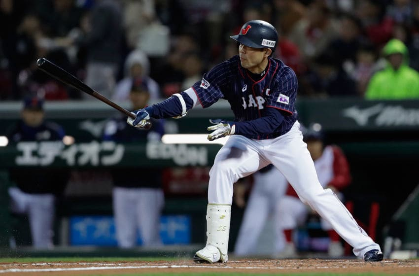 HIROSHIMA, JAPAN - NOVEMBER 13: Outfielder Shogo Akiyama #55 of Japan grounds out in the top of 5th inning during the game four between Japan and MLB All Stars at Mazda Zoom Zoom Stadium Hiroshima on November 13, 2018 in Hiroshima, Japan. (Photo by Kiyoshi Ota/Getty Images)