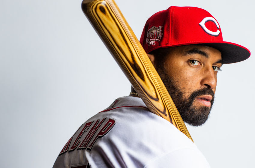 GOODYEAR, AZ - FEBRUARY 19: Matt Kemp #27 of the Cincinnati Reds poses for a portrait at the Cincinnati Reds Player Development Complex on February 19, 2019 in Goodyear, Arizona. (Photo by Rob Tringali/Getty Images)