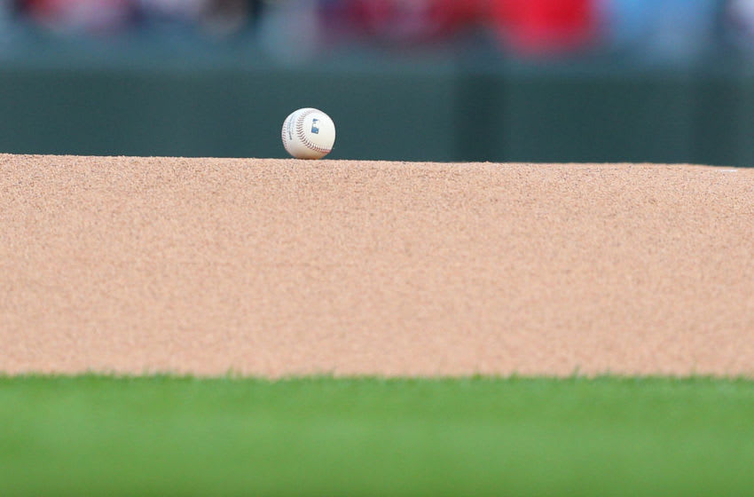 MINNEAPOLIS, MINNESOTA - APRIL 26: A baseball sits on the mound before the game pitting the Minnesota Twins against the Baltimore Orioles at Target Field on April 26, 2019 in Minneapolis, Minnesota. (Photo by Adam Bettcher/Getty Images)