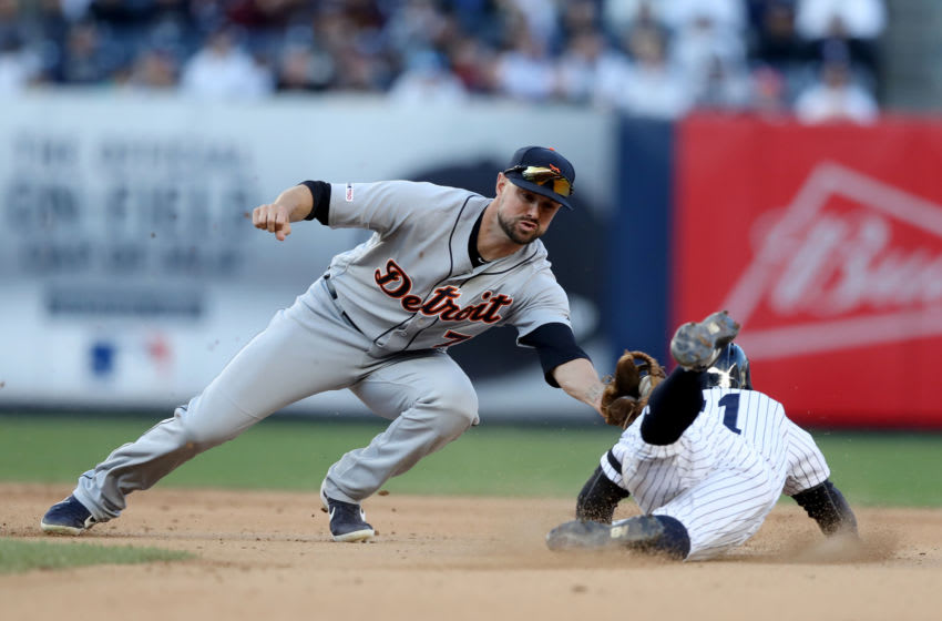 NEW YORK, NEW YORK - APRIL 03: Jordy Mercer #7 of the Detroit Tigers tags out Brett Gardner #11 of the New York Yankees as he tries to steal second in the eighth inning at Yankee Stadium on April 03, 2019 in the Bronx borough of New York City. (Photo by Elsa/Getty Images)