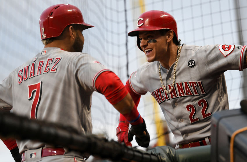 SAN FRANCISCO, CALIFORNIA - MAY 11: Eugenio Suarez #7 of the Cincinnati Reds celebrates after his solo home run against the San Francisco Giants with Derek Dietrich #22 in the fifth inning of their MLB game at Oracle Park on May 11, 2019 in San Francisco, California. (Photo by Robert Reiners/Getty Images)