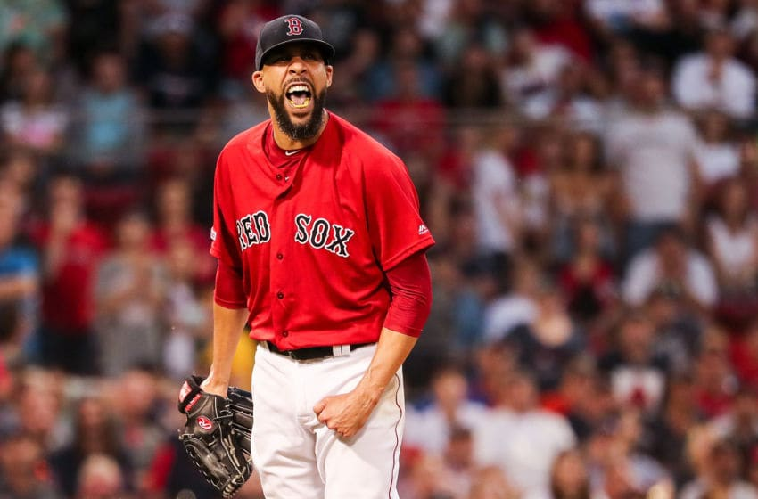 BOSTON, MA - JUNE 8: David Price #10 of the Boston Red Sox reacts after the third out is made in the sixth inning during game two of a doubleheader against the Tampa Bay Rays at Fenway Park on June 8, 2019 in Boston, Massachusetts. (Photo by Adam Glanzman/Getty Images)