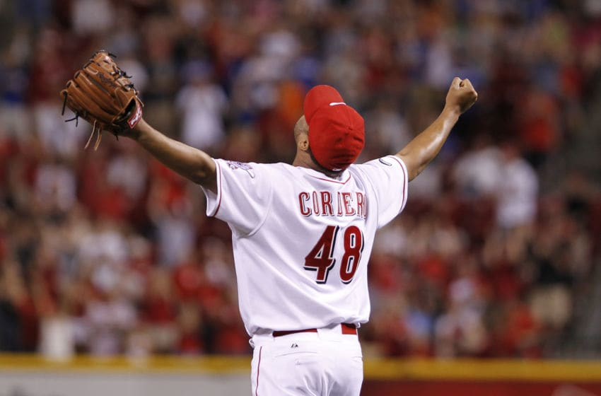 CINCINNATI, OH - JUNE 1: Francisco Cordero #48 of the Cincinnati Reds celebrates after the game against the Milwaukee Brewers at Great American Ball Park on June 1, 2011 in Cincinnati, Ohio. The Reds defeated the Brewers 4-3 as Cordero saved his 300th career game. (Photo by Joe Robbins/Getty Images)