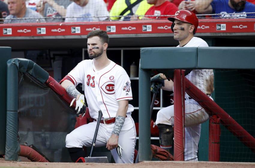CINCINNATI, OH - MAY 18: Jesse Winker #33 and Joey Votto #19 of the Cincinnati Reds (Photo by Joe Robbins/Getty Images)