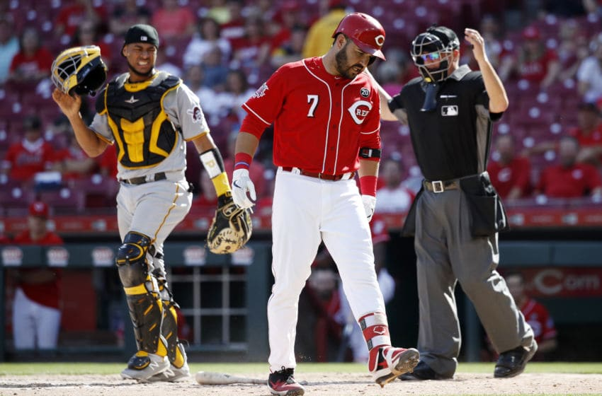 CINCINNATI, OH - MAY 29: Eugenio Suarez #7 of the Cincinnati Reds reacts after being hit by a pitch from Clay Holmes #52 of the Pittsburgh Pirates in the eighth inning at Great American Ball Park on May 29, 2019 in Cincinnati, Ohio. The Pirates won 7-2. (Photo by Joe Robbins/Getty Images)