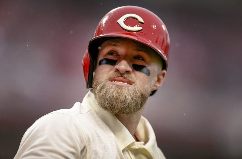 CINCINNATI, OH - MAY 04: Tucker Barnhart #16 of the Cincinnati Reds (Photo by Michael Hickey/Getty Images)