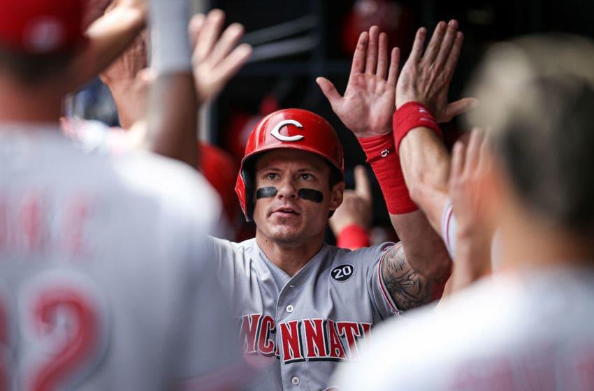 MILWAUKEE, WISCONSIN - JUNE 22: Derek Dietrich #22 of the Cincinnati Reds (Photo by Dylan Buell/Getty Images)