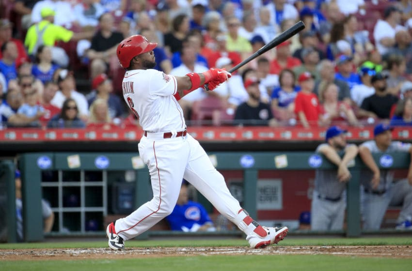 CINCINNATI, OHIO - JUNE 28: Phillip Ervin #6 of the Cincinnati Reds hits a home run in the second inning against the Chicago Cubs at Great American Ball Park on June 28, 2019 in Cincinnati, Ohio. (Photo by Andy Lyons/Getty Images)