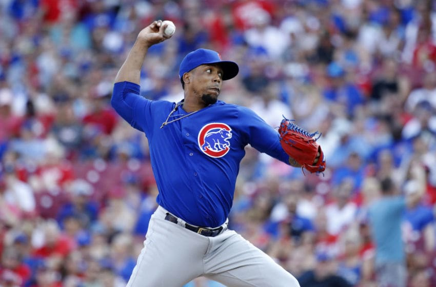 CINCINNATI, OH - JUNE 29: Pedro Strop #46 of the Chicago Cubs pitches in the eighth inning against the Cincinnati Reds at Great American Ball Park on June 29, 2019 in Cincinnati, Ohio. The Cubs won 6-0. (Photo by Joe Robbins/Getty Images)