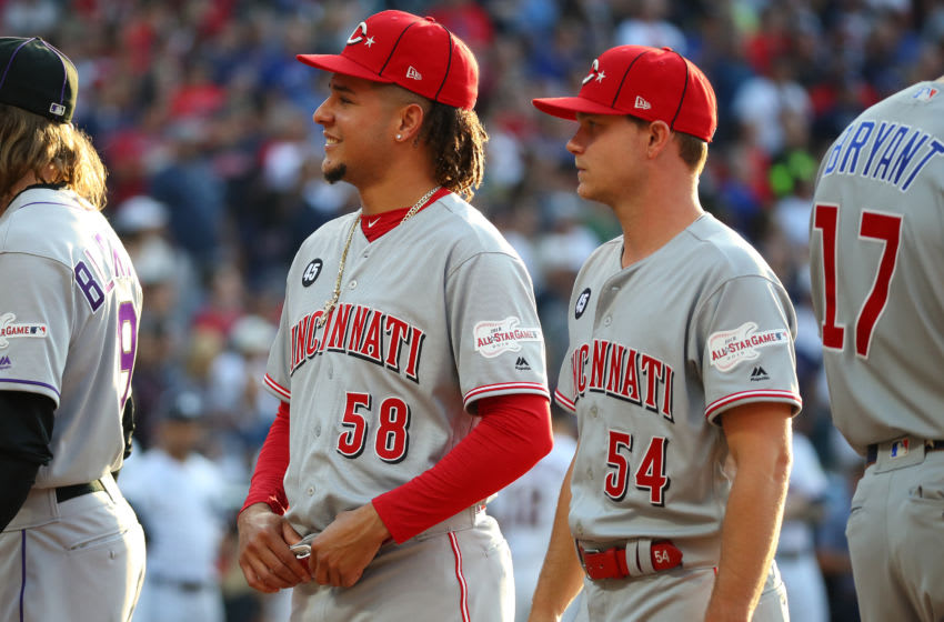CLEVELAND, OHIO - JULY 09: Luis Castillo #58 and Sonny Gray #54 of the Cincinnati Reds (Photo by Gregory Shamus/Getty Images)