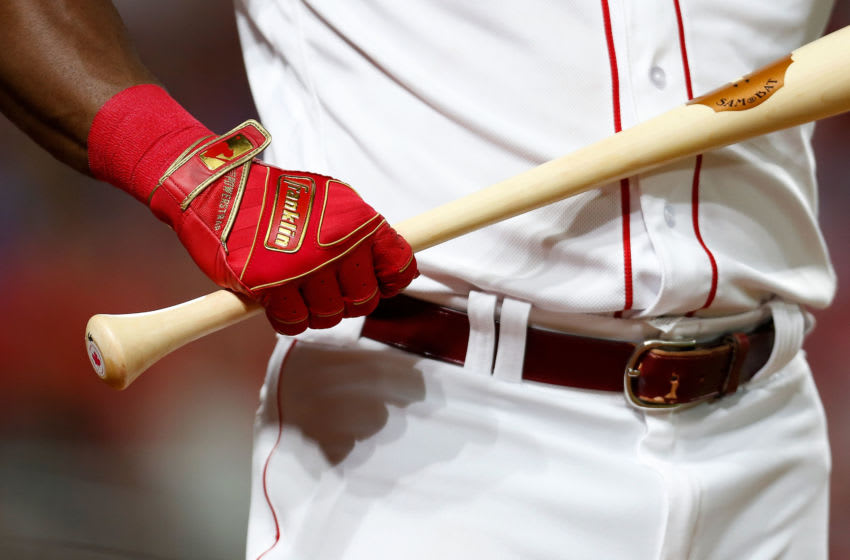 CINCINNATI, OH - JULY 18: A detail of the Franklin batting gloves worn by Yasiel Puig #66 of the Cincinnati Reds (Photo by Kirk Irwin/Getty Images)