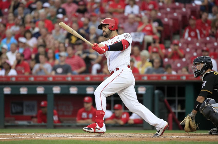 CINCINNATI, OHIO - JULY 30: Eugenio Suarez #7 of the Cincinnati Reds hits a single in the first inning against the Pittsburgh Pirates at Great American Ball Park on July 30, 2019 in Cincinnati, Ohio. (Photo by Andy Lyons/Getty Images)