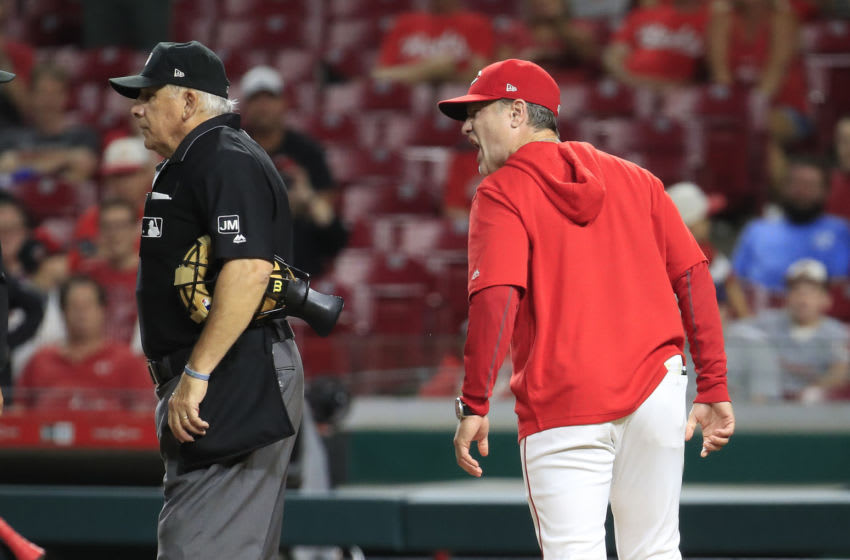 CINCINNATI, OHIO - JULY 30: David Bell the manager of the Cincinnati Reds argues with the umpires. (Photo by Andy Lyons/Getty Images)