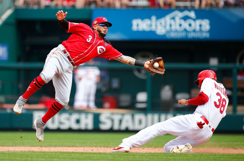 ST LOUIS, MO - SEPTEMBER 01: Jose Martinez #38 of the St. Louis Cardinals steals second base against Freddy Galvis #3 of the Cincinnati Reds in the seventh inning during game one of a doubleheader at Busch Stadium on September 1, 2019 in St Louis, Missouri. (Photo by Dilip Vishwanat/Getty Images)