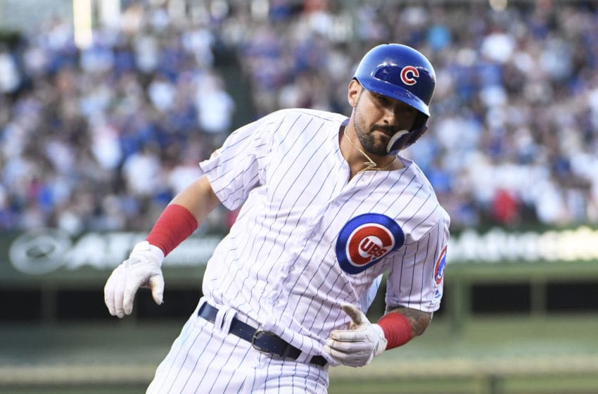 CHICAGO, ILLINOIS - AUGUST 05: Nicholas Castellanos #6 of the Chicago Cubs runs the bases after hitting a home run against the Oakland Athletics during the first inning at Wrigley Field on August 05, 2019 in Chicago, Illinois. (Photo by David Banks/Getty Images)