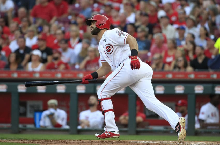CINCINNATI, OHIO - AUGUST 05: Jose Peraza of the Cincinnati Reds hits a RBI double in the first inning against the Los Angeles Angels of Anaheim at Great American Ball Park on August 05, 2019 in Cincinnati, Ohio. (Photo by Andy Lyons/Getty Images)