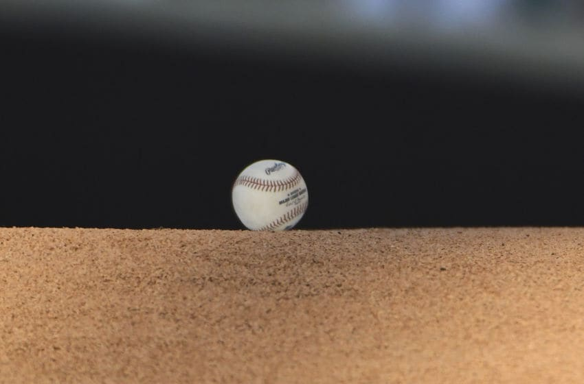 CHICAGO, ILLINOIS - AUGUST 05: A detail shot of a ball on the pitchers mound before the game between the Chicago Cubs and the Oakland Athletics at Wrigley Field on August 05, 2019 in Chicago, Illinois. (Photo by David Banks/Getty Images)